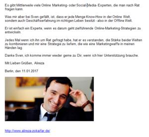 Referenz Alireza Zokaifar Experte für Storrytelling Berlin