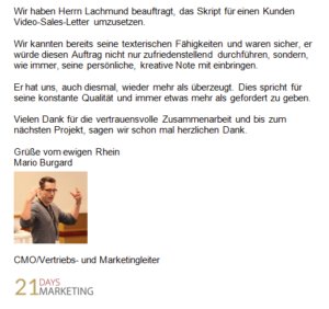Referenz 21Days Marketing Koblenz